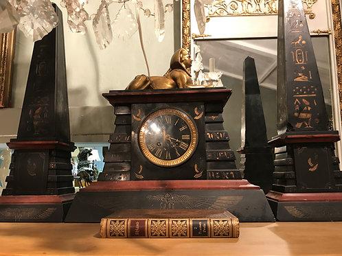 Egyptian Revival Clock Set