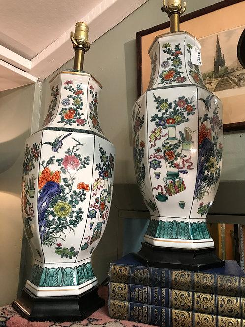 Oriental Floral Porcelain Lamps