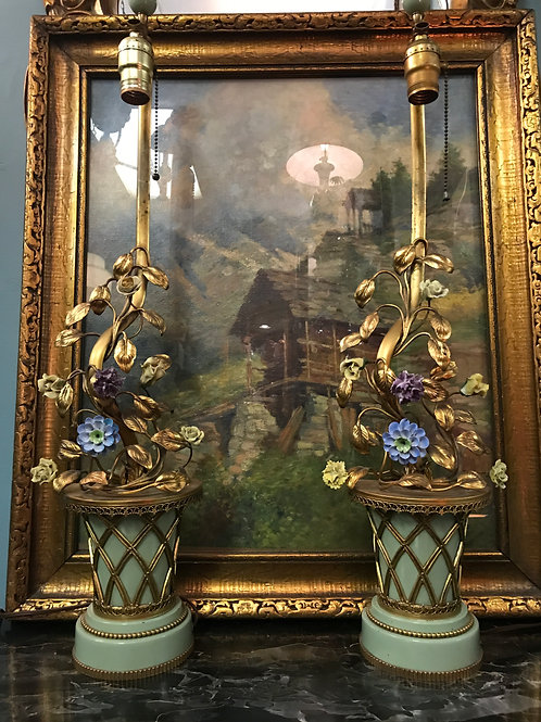 Toleware and Porcelain Flower Lamps