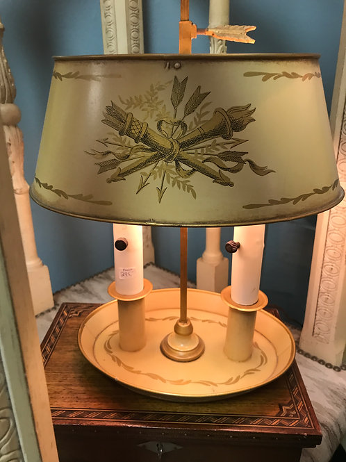 French Toleware Hand-Painted Lamp