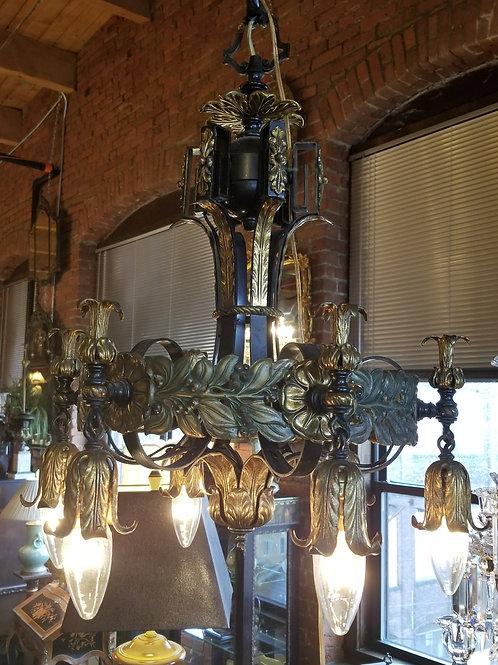 20's Tudor Style Iron Polychrome Chandelier