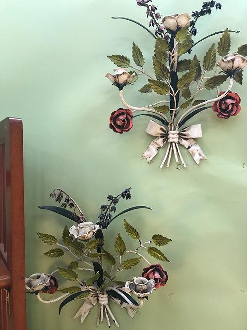 Floral Toleware Sconces