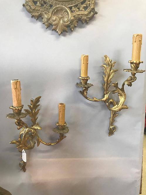 French Bronze Rococo Sconces