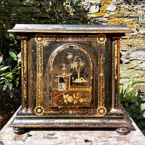 Mid 1800's Toleware Chinoiserie Kindling Box
