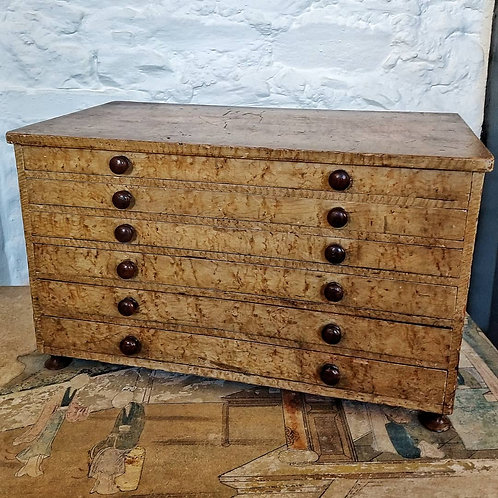 19TH C Set of Collectors Drawers in Original Painted Wood Grain
