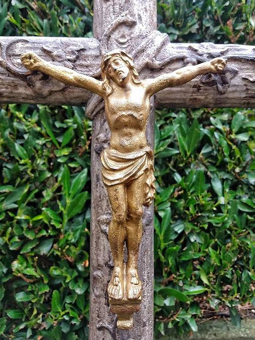 19TH C French Cast Iron Crucifix