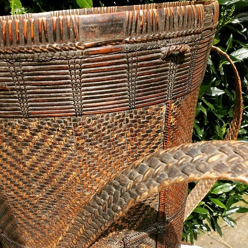 Antique Laos Hill Tribe Woven Basket