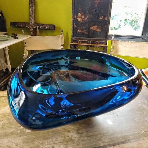 Huge Blue Art Glass Champagne Bowl