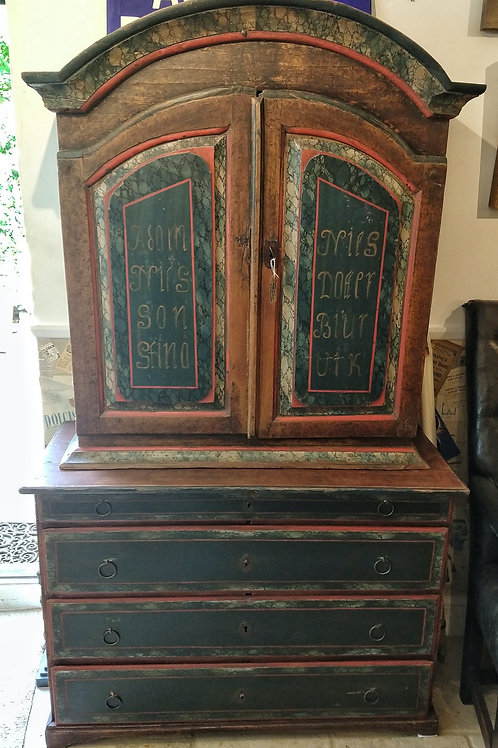 18TH C Primitive Painted Swedish Marriage Cupboard