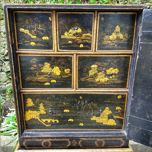 18th Century Georgian Japanned Cabinet on Stand