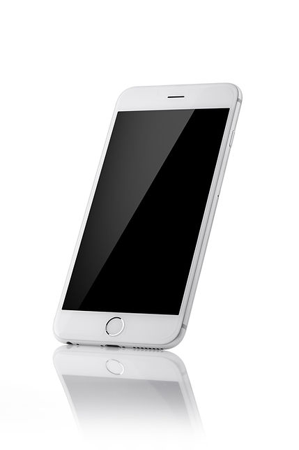 white mobile phone with black screen, re