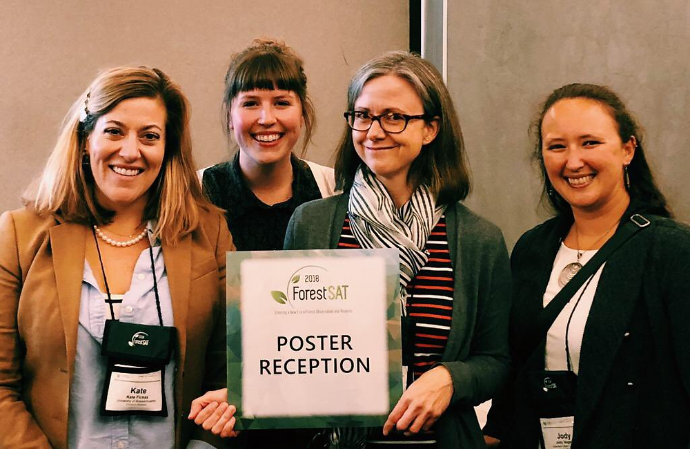 Dr. Kate Fickas, Morgan Crowley, Dr. Joanne White, and Dr. Jody Vogeler attending the ForestSAT 2018 poster reception. ForestSAT is a global conference bringing together researchers and practitioners using spatial data analyses in the forest industry.