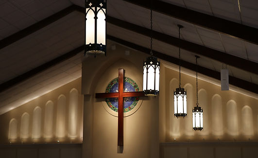 Sanctuary, cross, pendant lighting, episcopal
