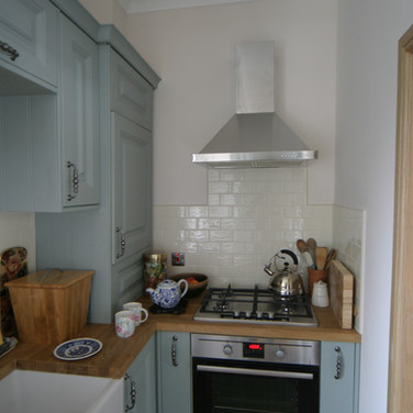 A beautiful dove blue hand painted kitchen