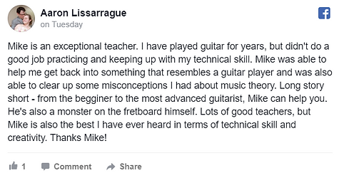 5-star Facebook review for lessons with