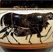 Ο Οδυσσέας ξεφεύγει από τη σπηλιά του Πολύφηµου, δεµένος κάτω από την κοιλιά του κριαριού.