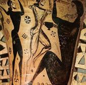 Ο Οδυσσέας και οι σύντροφοί του τυφλώνουν τον Πολύφηµο.