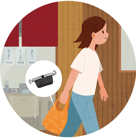 ouchide-kantan.jp おうちでかんたん イラスト5 |「おうちでかんたん」はロック機能・液漏れ防止機能付き、電子レンジ対応のテイクアウト&デリバリー向けのプラスチック製食品包装容器です。