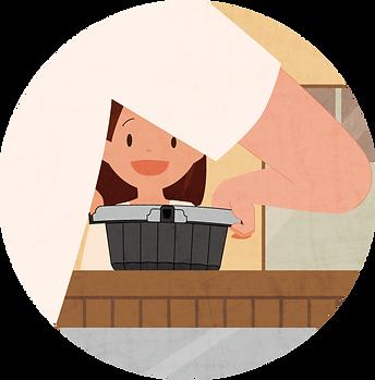 ouchide-kantan.jp おうちでかんたん イラスト4 |「おうちでかんたん」はロック機能・液漏れ防止機能付き、電子レンジ対応のテイクアウト&デリバリー向けのプラスチック製食品包装容器です。