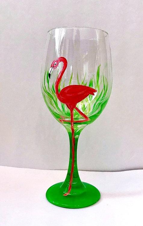 Fab Flamingo -Wine Glass
