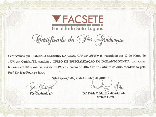 Certificado PRIME-FACSETE
