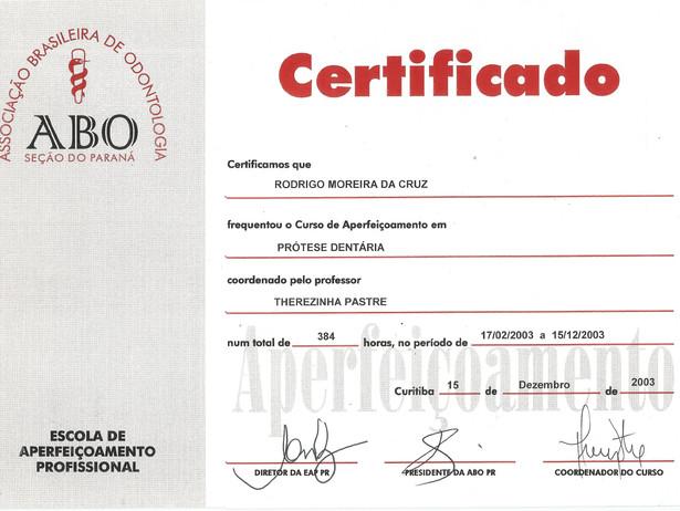 Certificado ABO-PR PROTESE0018
