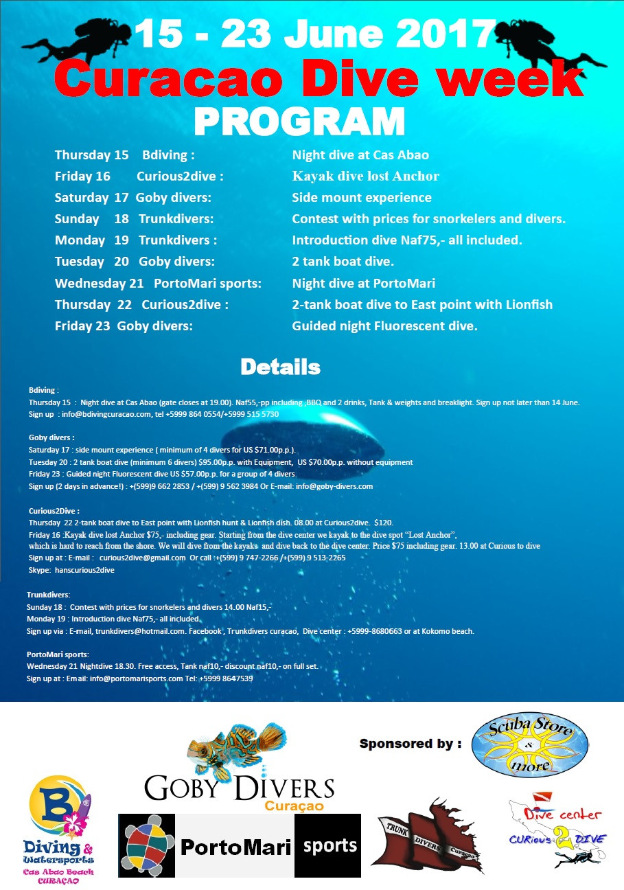 Coming up the Curaçao Dive Week. Enjoy special dive programs with a lot of fun, great service and special prices.