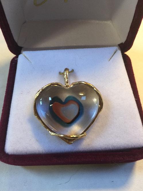 Glass Pendant - Heart 14k Yellow Gold