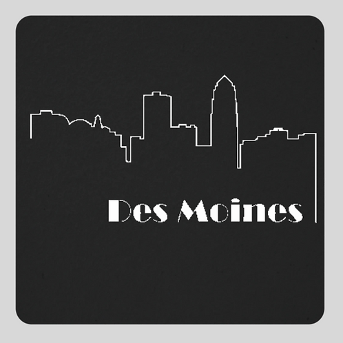 Des Moines Outline Graphic Coaster