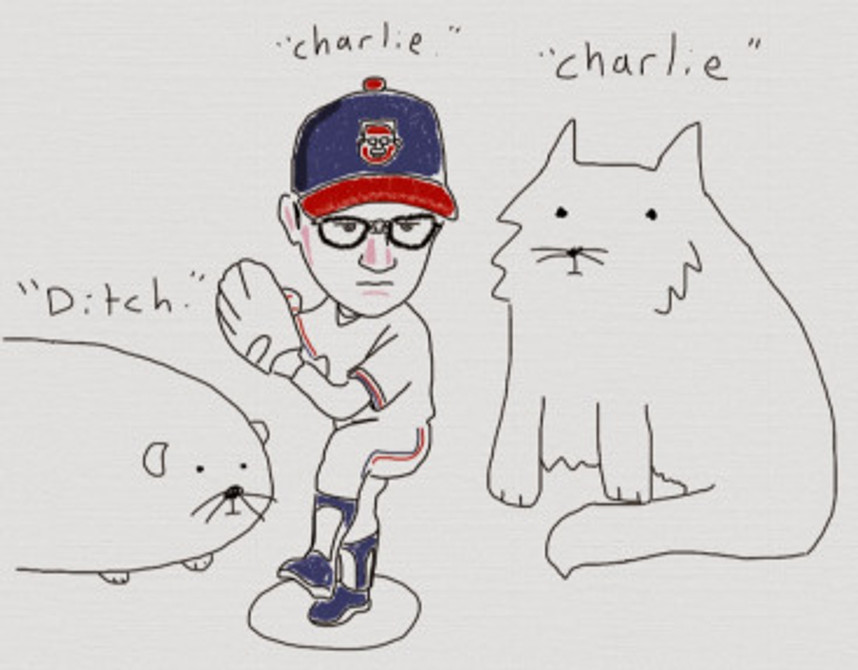 """Ditch"" the overweight guinea-pig and ""Charlie"" the cat. Childhood tributes to style-icon, Charlie Sheen."