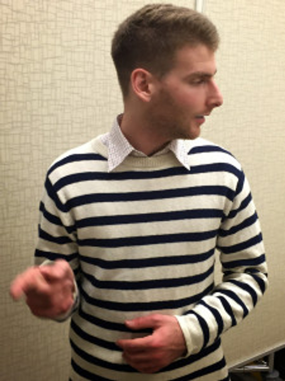 Sweater by Gant. Too expensive to begin with. Way too expensive for a first-year kindergarten teacher.