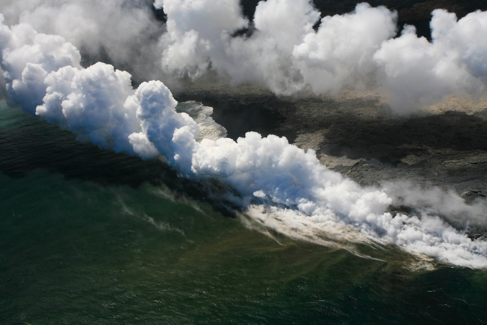 Lava entry to the ocean