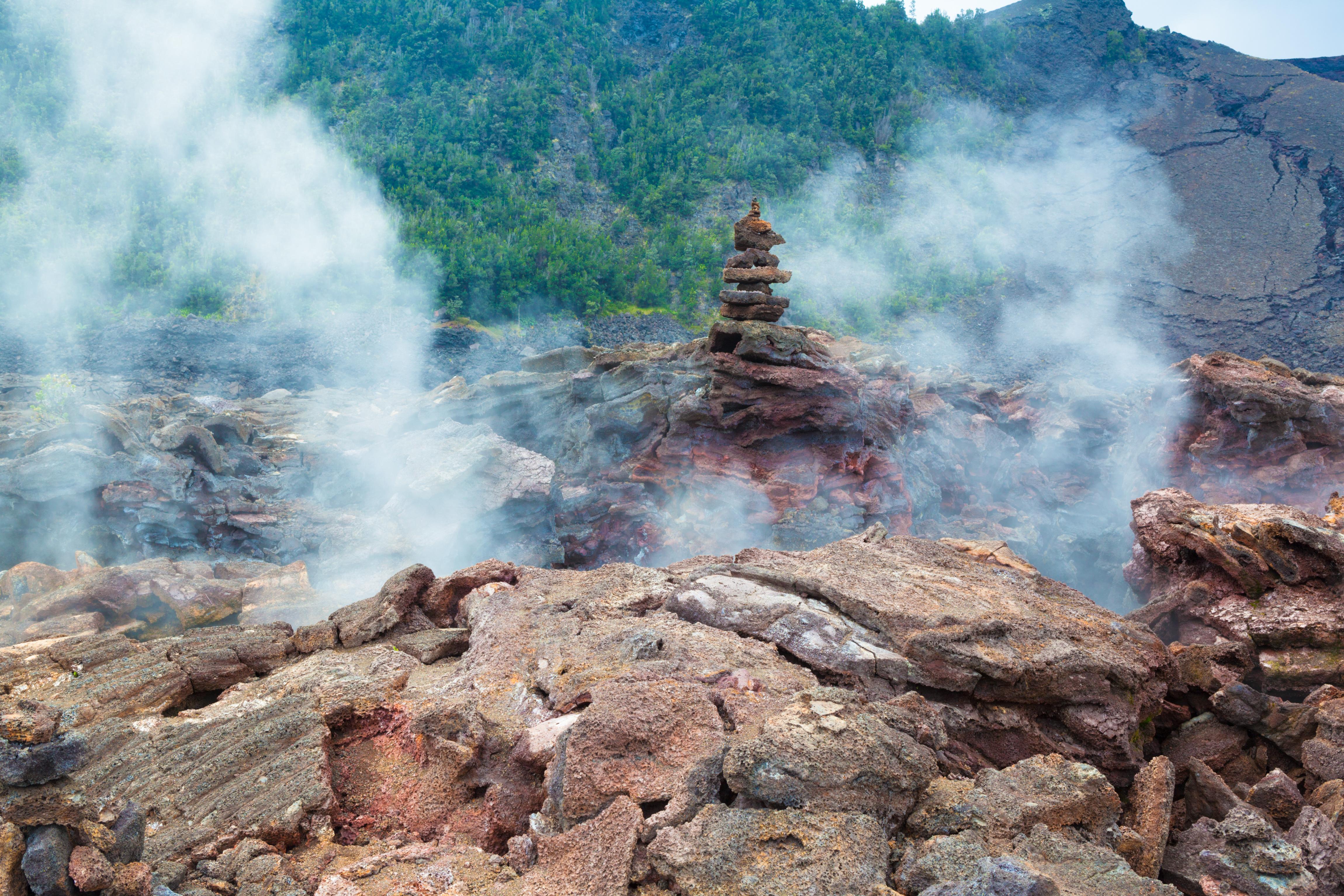 Steam inside Crater Iki