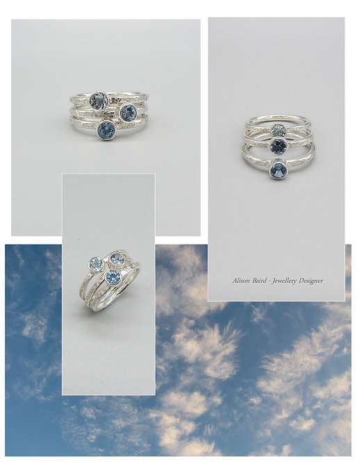 Blue Skies Aquamarine stacking ring