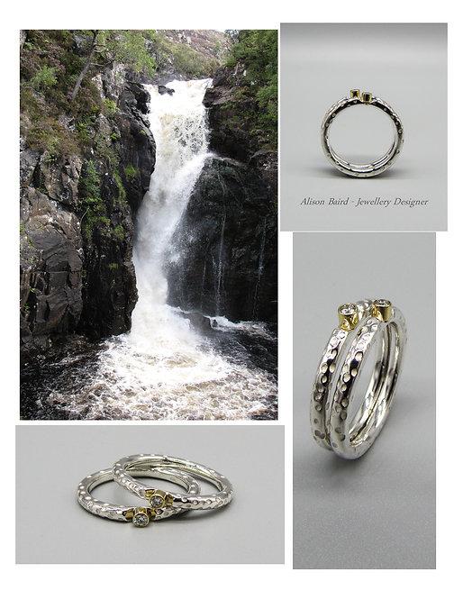 Kirkaig Falls Diamond stacking ring