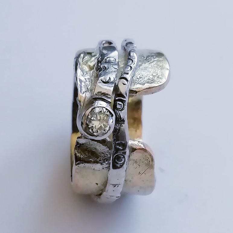 Diamond set white gold commission ring