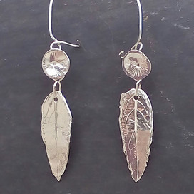 Real leaf earring made from Bridal Bouquet