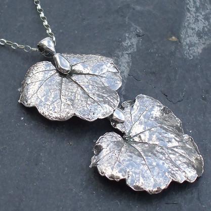 Silver Geranium Leaves Pendant
