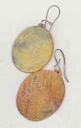 Beaten Copper Oval Earrings