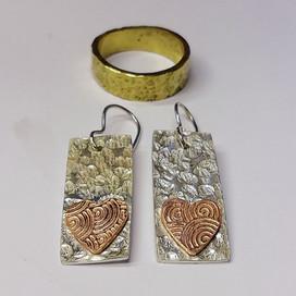 Handmade wedding ring and earrings