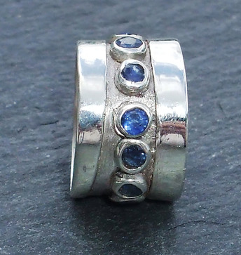Sapphire set sterling silver commision