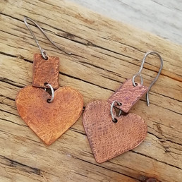 Large Copper Heart Textured Earrings