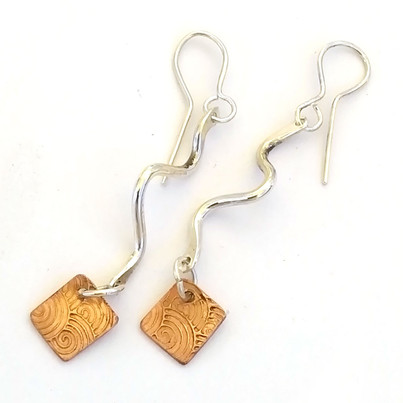 Silver Snake Earrings with Beaten Copper squares