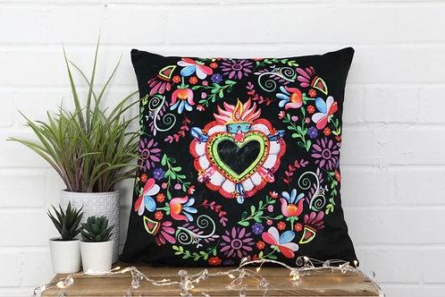 Mexican Floral Heart Velvet Cushion