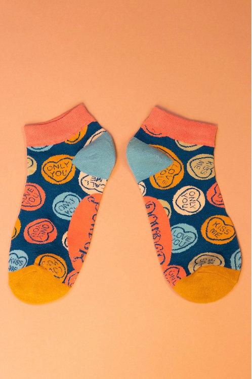 Love Heart Trainer Socks