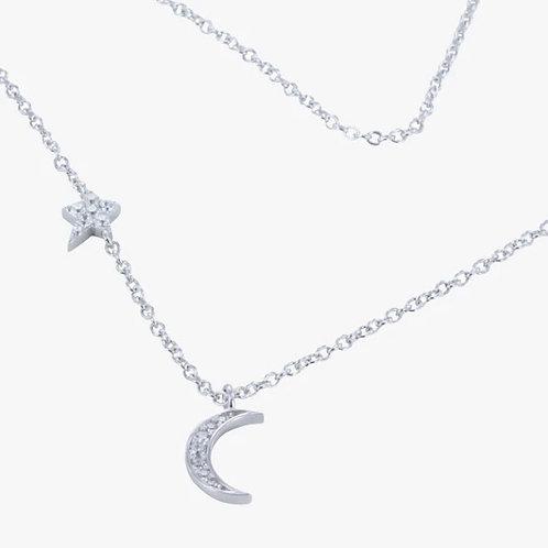 Moon & Star CZ Necklace (DD45)