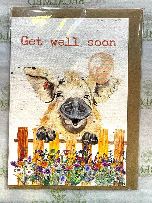 Plantable Pig 'Get Well Soon' Card