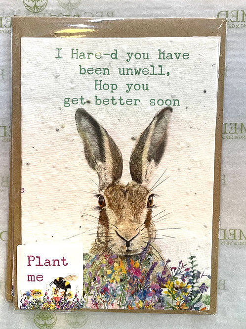 Plantable 'I Hare'd You're Unwell' Card