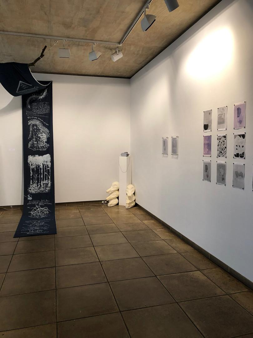 Hanging scroll by Neeli Malik, VR film by Anya Gleizer, prints by Sarah Sands-Phillips (advised by Joshua Deru)
