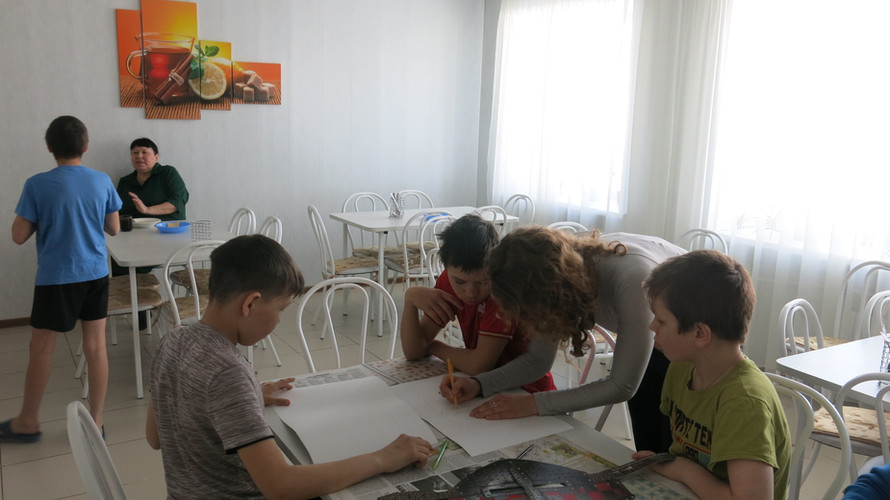 Workshop on collaging cultures in Evenki children's internat in Baykit Siberia
